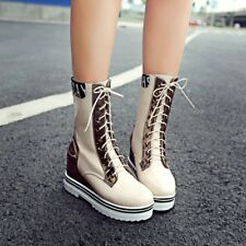 Womens Fashion Lace Up Wedge Heels Platform Shoes Sport Boots Mid Calf Boots