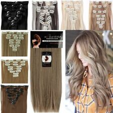 Full Head Clip in Hair Extensions Remy Thick 8Pc Tape Natural As Human Hair TM8