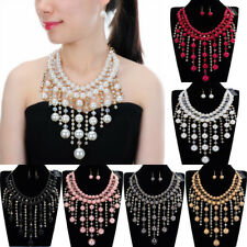 Fashion Gold Chain Crystal Resin Pearl Collar Statement Pendant Bib Necklace New