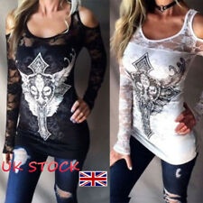 UK Womens Cut Out Off Shoulder T-shirt Novelty Print Long Sleeve Top Lace Blouse