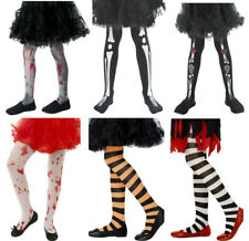 Girls Halloween Tights Striped Blood Stained Skeleton