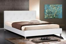 WHITE FAUX LEATHER QUEEN BED FRAME CRYSTAL BUTTON TUFTED HEADBOARD NEW MODERN