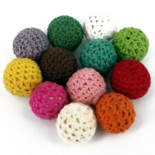 10 x Random Pastel Colours Crochet wool woven fabric covered beads , 22mm CR19