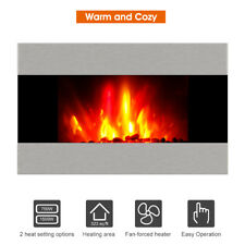New Electric Fireplace Heater Stove+Wall Mounted Heat Powered Stove Fireplace US