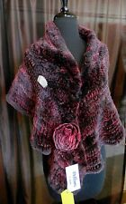 Gorgeous Rex Rabbit Fur Cape Shawl Wrap Stole with Rose - CLEARANCE