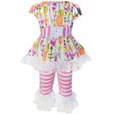 AnnLoren Girls Feathers and Stripes Tunic and Capri Set sz 12/18 mo-9/10