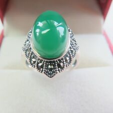New Solid 925 Sterling Silver with Natural Green Chalcedony Ring Size 4-10