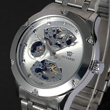 Silver Skeleton Analog Mens Mechanical Automatic Wristwatch Steel Band Watch