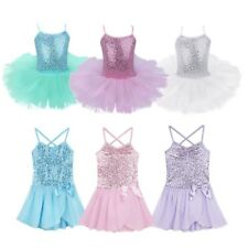 Kids Girls Toddler Ballet Dancer Wear Tutu Dress Costumes Sequined Gyms Leotard
