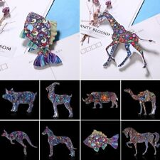 Vintage Retro Woman Printing Animal Dog Fish Horse Brooch Pin Lady Jewelry Gift