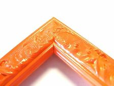 Small Orange Victorian Wood Ornate Picture Frame-Custom Standard Sizes