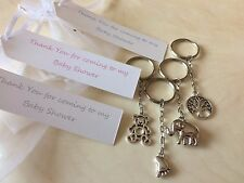 5 x Baby Shower Keyring charm organza gift bag favour personalised tag games