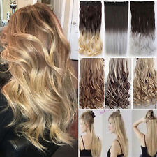 US THICK Ombre Clip In Hair Extensions Real Natural As Human Brown Blonde TE4