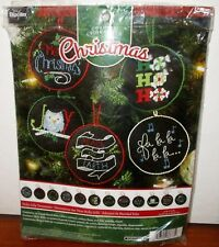 BUCILLA HOLLY JOLLY CHRISTMAS ORNAMENTS  COUNTED CROSS STITCH KIT  #86673