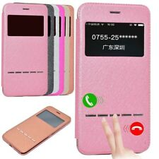 Luxury PU Leather Case Flip Window View Smart Touch Cover For iPhone/Samsung Y