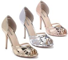 WOMENS LADIES METALLIC PEEPTOE SANDALS HIGH HEEL LADIES PLATFORM SHOES SIZE 3-8