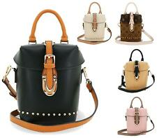New Womens Faux Leather Gold Studs Clasp Evening Office Fashion Shoulder Handbag