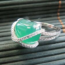 New Solid 925 Sterling Silver W/ Natural Heart Green Chalcedony Ring Size 6-8