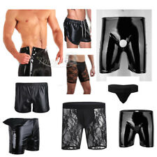 Mens Sexy Lingerie Black Boxer Brief Shorts Bikini Leather Underwear Underpants