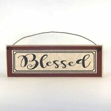 BLESSED Sign, Thanksgiving Decor Primitive Rustic Wood Plaque, Choose Your Color