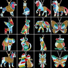 Rainbow Colorful Printing Butterfly Dog Cat Owl Pendant Necklace Women Jewelry