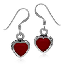 Heart Shape Red Coral Inlay 925 Sterling Silver Dangle Hook Earrings
