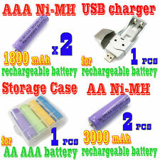 4pcs AA +AAA NiMH Rechargeable Battery Case USB Charger
