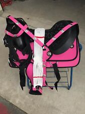 "13"" NEW PINK WESTERN CODURA PLEASURE TRAIL SADDLE PACKAGE with CONCHO"