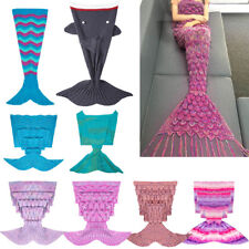 New Handcrafted Mermaid Tail Crochet Knitted Sofa Blanket Sleeping Bag Adult Hot