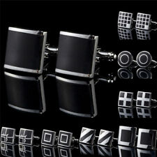 1Pair Black Stainless Steel Mens Cufflinks Shirt Cuff Links Wedding Party GiftWB