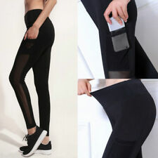 Lady Sports Pants Yoga Fitness Black Mesh Leggings Running Gym Stretchy Trousers