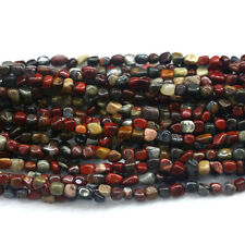 Natural Genuine Gray Red Silver Leaf Jasper Small Nugget Free Form Stone Beads