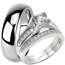 Tungsten 6 MM Band and Solid 925 Sterling Silver CZ Engagement Wedding Ring Set