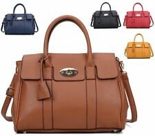 WOMENS FAUX LEATHER GOLD CLASP FOLD OVER CLASP TWIN HANDLE SHOULDER TOTE HANDBAG