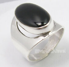 925 Solid Silver Authentic BLACK ONYX Cabochon Gemstone BESTSELLER Ring Any Size