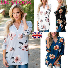 UK Women Ladies Floral Print 3/4 Sleeve V Neck Casual T-Shirt Blouse Classic Top