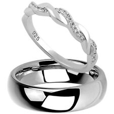 Tungsten Dome Band & 925 Sterling Silver Twisted CZ Wedding Anniversary Ring Set