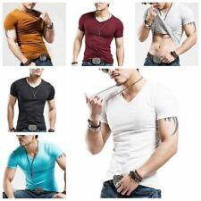 Mens Slim Casual Top T-Shirt Short Sleeve Crew V-Neck Slim Fit Muscle Shirts Tee