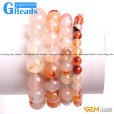 """Handmade XMAS Jewelry Red Leaves Agate Beaded Stretchy Bracelet 7"""" Free Shipping"""