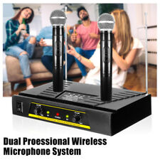 Pro Dual Channel Receiver VHF Wireless Cordless 2 Handheld Microphone Mic System
