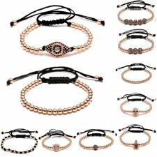 Fashion Rose Gold Charm Copper Ball Beads Adjustable Bangle Bracelet Men Jewelry