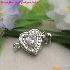 Women Beautiful wholesale White Gold Plated Crystal Inlayed Heart Clasp