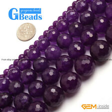 """Dark Purple Jade Faceted Round Beads For Jewelry Making Free Shipping 15"""" Strand"""