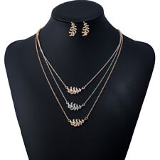 KQ_ Multi-layer Metal Leaf Feather Pendant Necklace Earrings Jewelry Set Eyeful