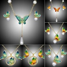 Valentine's Day Gift Crystal Pearl Butterfly Necklace Earrings Jewelry Set Women