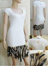 NWT Roberto Just Cavalli White ribbed dress swimsuit cover up brooch ITALY M