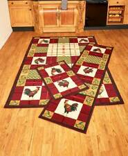 Country Rooster Kitchen Dining Room Area Runner Accent Rug Set