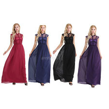 Womens Lace Evening Prom Bridesmaid Long Ball Gown Maxi Cocktail Formal Dress