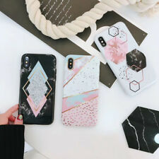 Luxury Geometry Marble Soft IMD Slim Shell Phone Case For iphone 7 6 6s 8 Plus