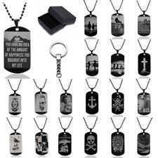 Fashion 316L Stainless Steel Dog Tag Pendant Necklace Keychain Box Jewellery Set